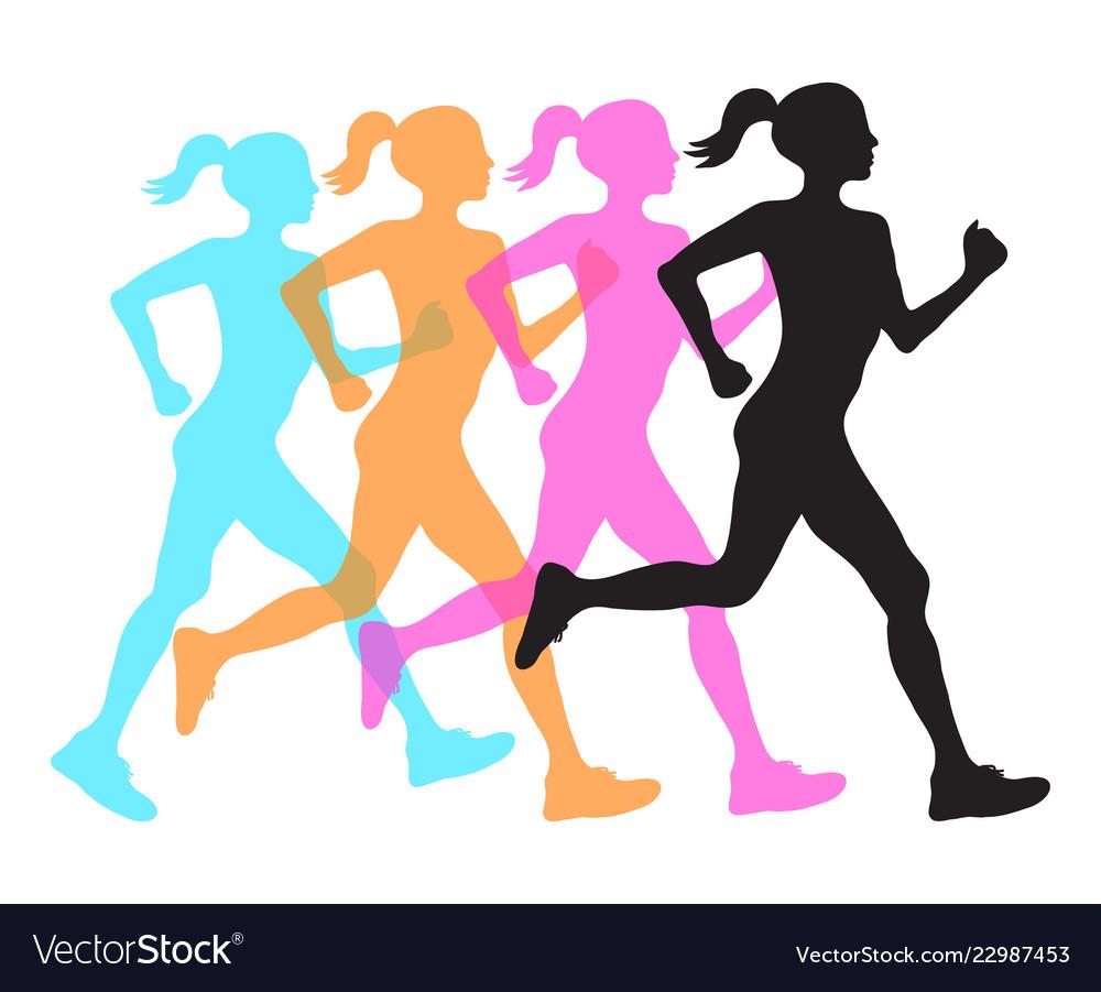 Four silhouette of running women profile black