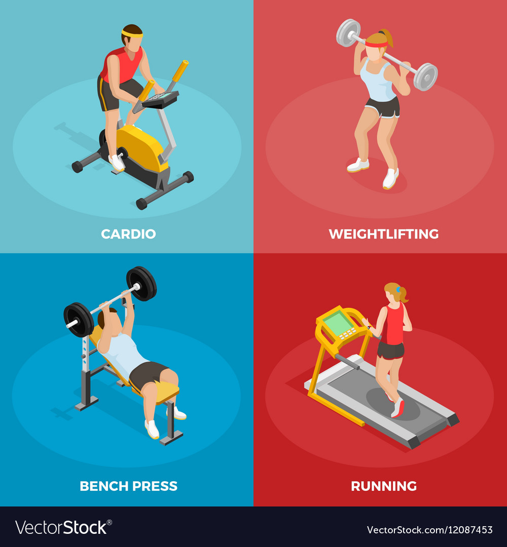 Gym Sport Isometric Concept