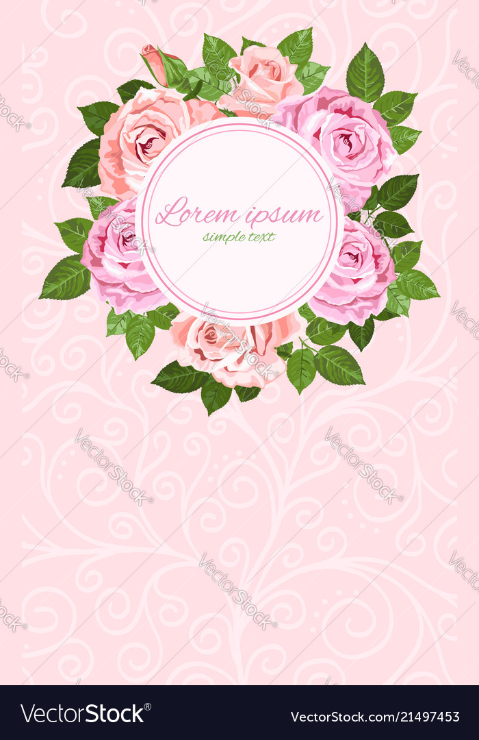 Pink and beige roses wreath round frame