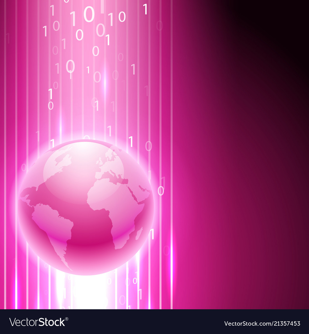 Pink background with binary code to the globe