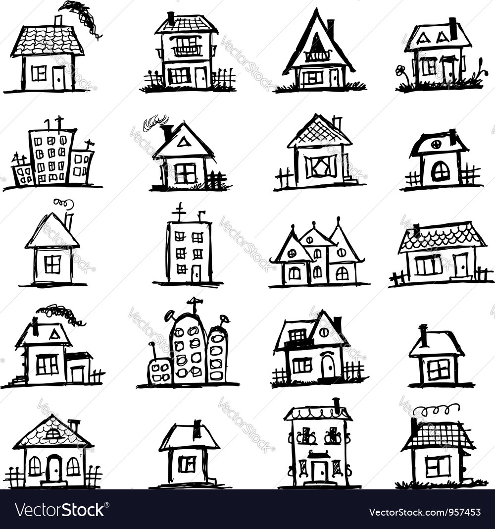 Sketch of art houses for your design vector image