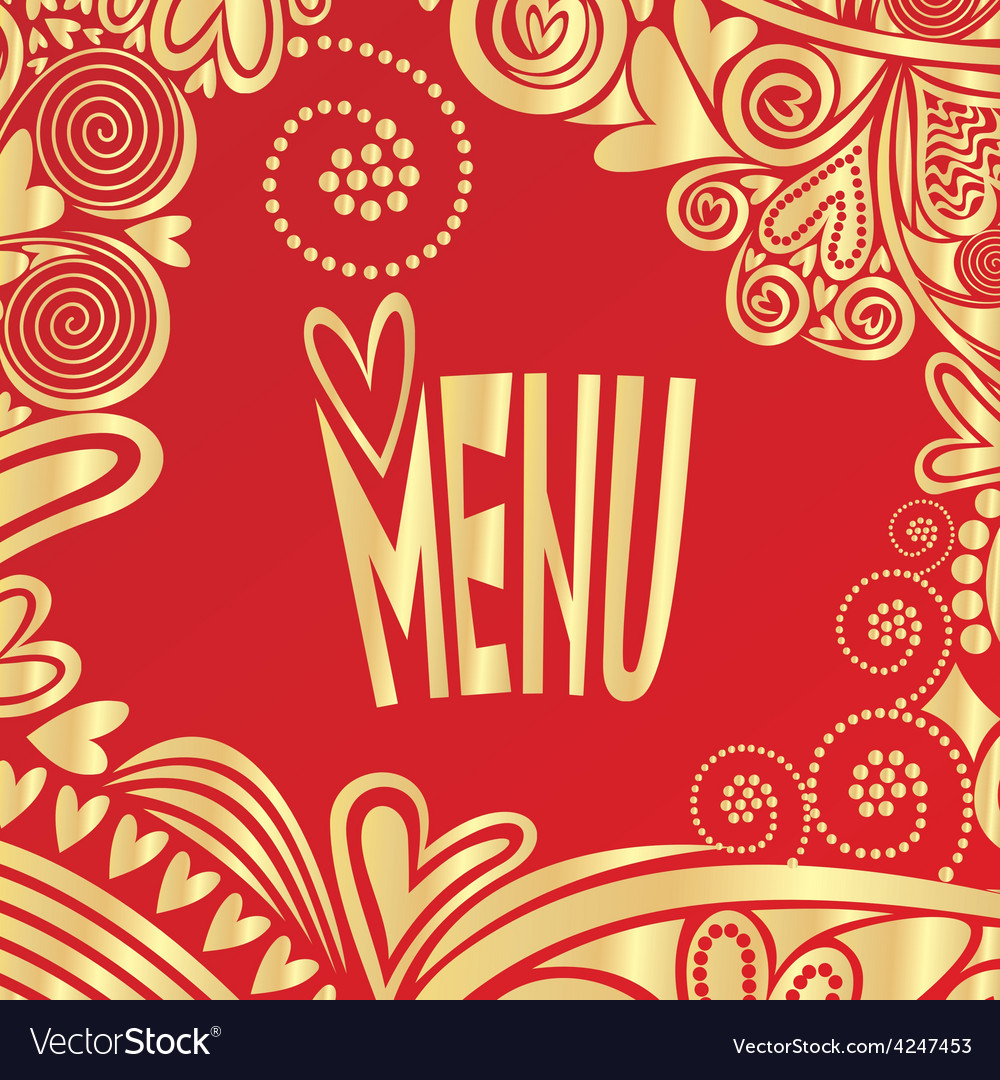 Valentines day romantic menu red and gold vector image