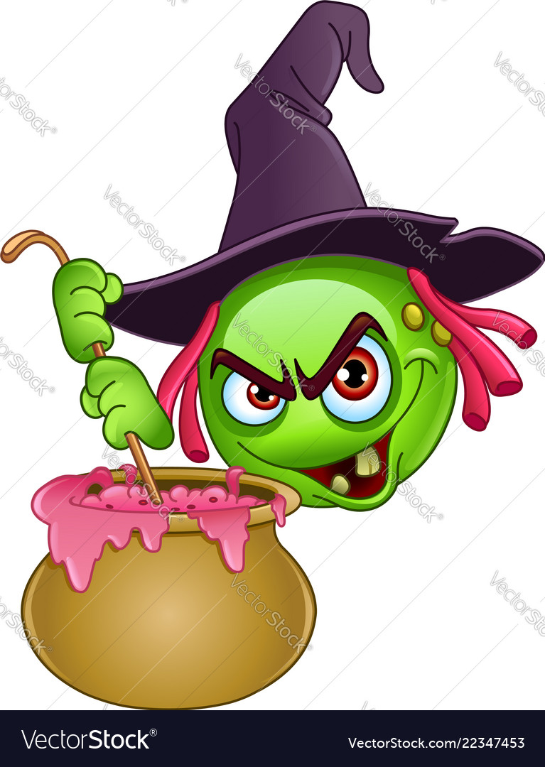 Witch emoticon with cauldron