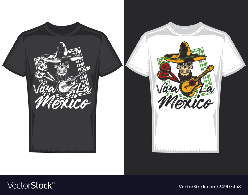 A skull with mexican hat and a guitar