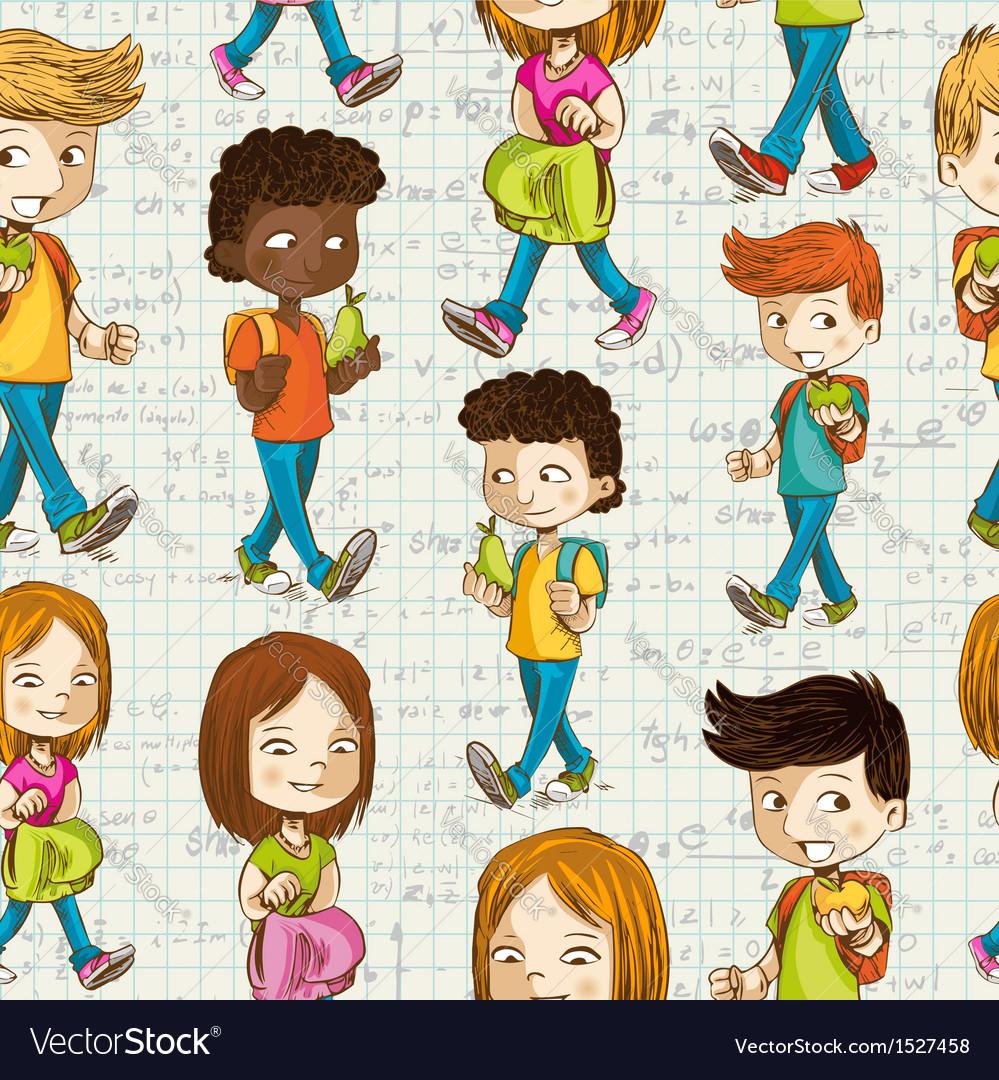 Back to School Cartoon kids education seamless
