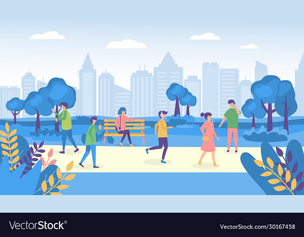 city people walking park or street and park vector image vectorstock