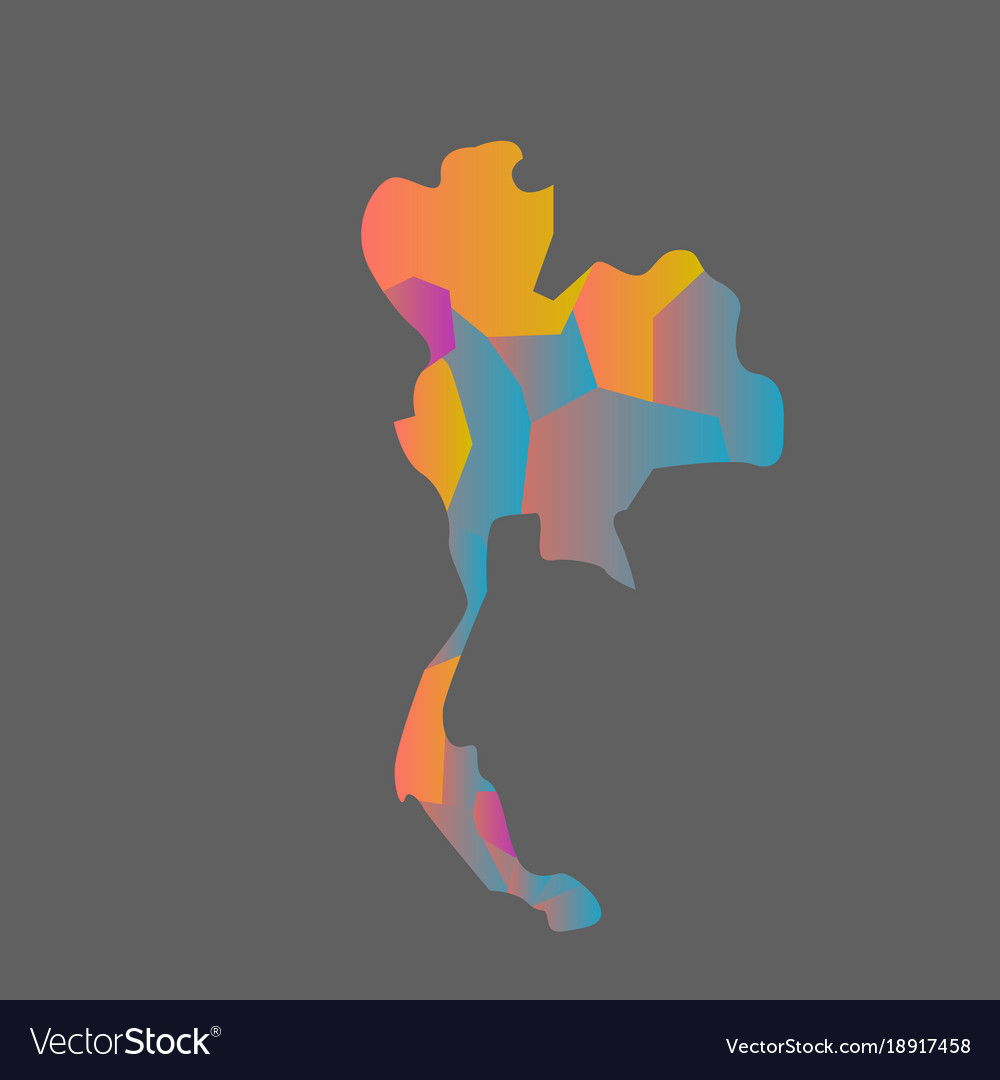 Colorful thailand map with grey background