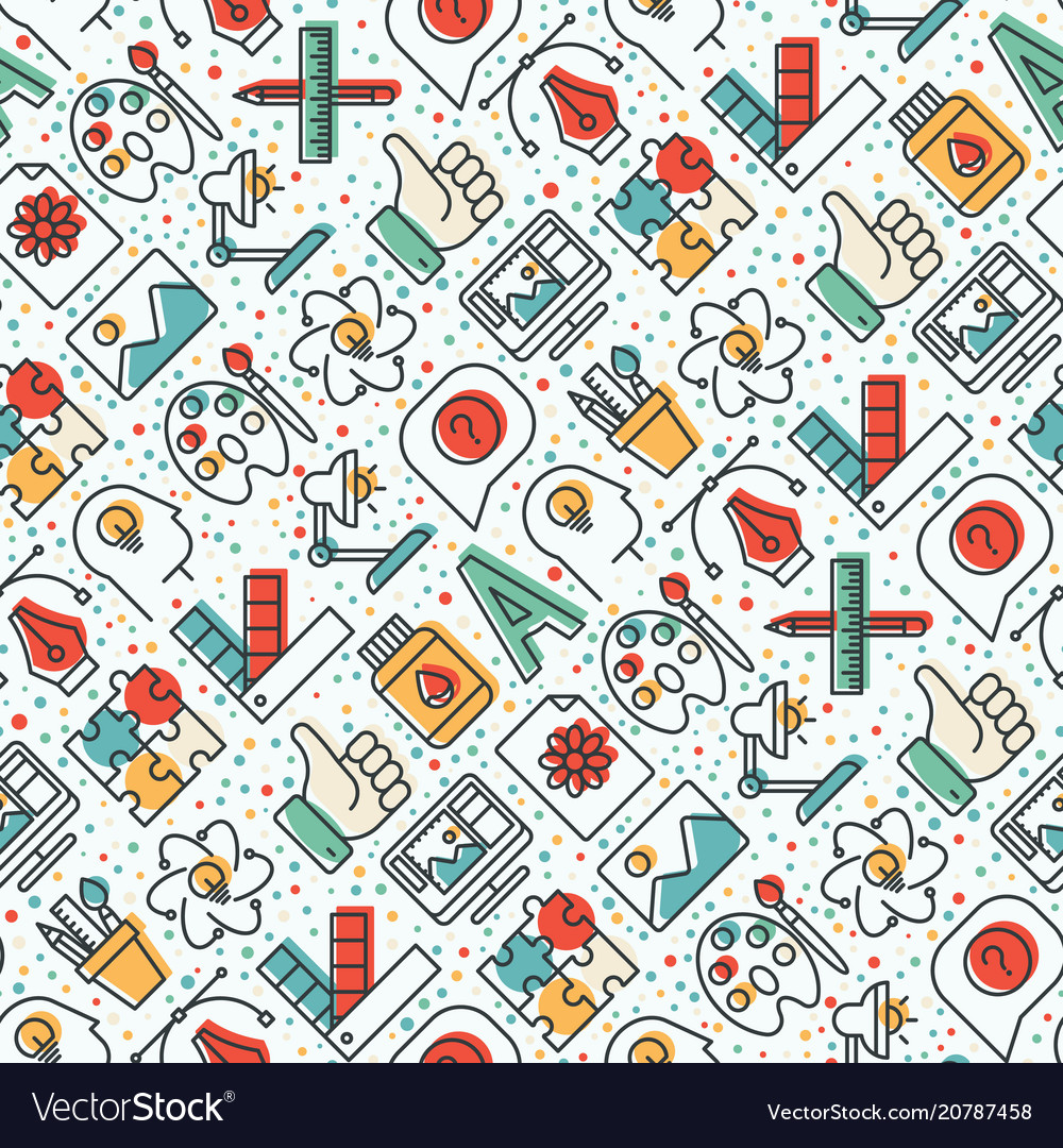 Creative seamless pattern with thin line icons
