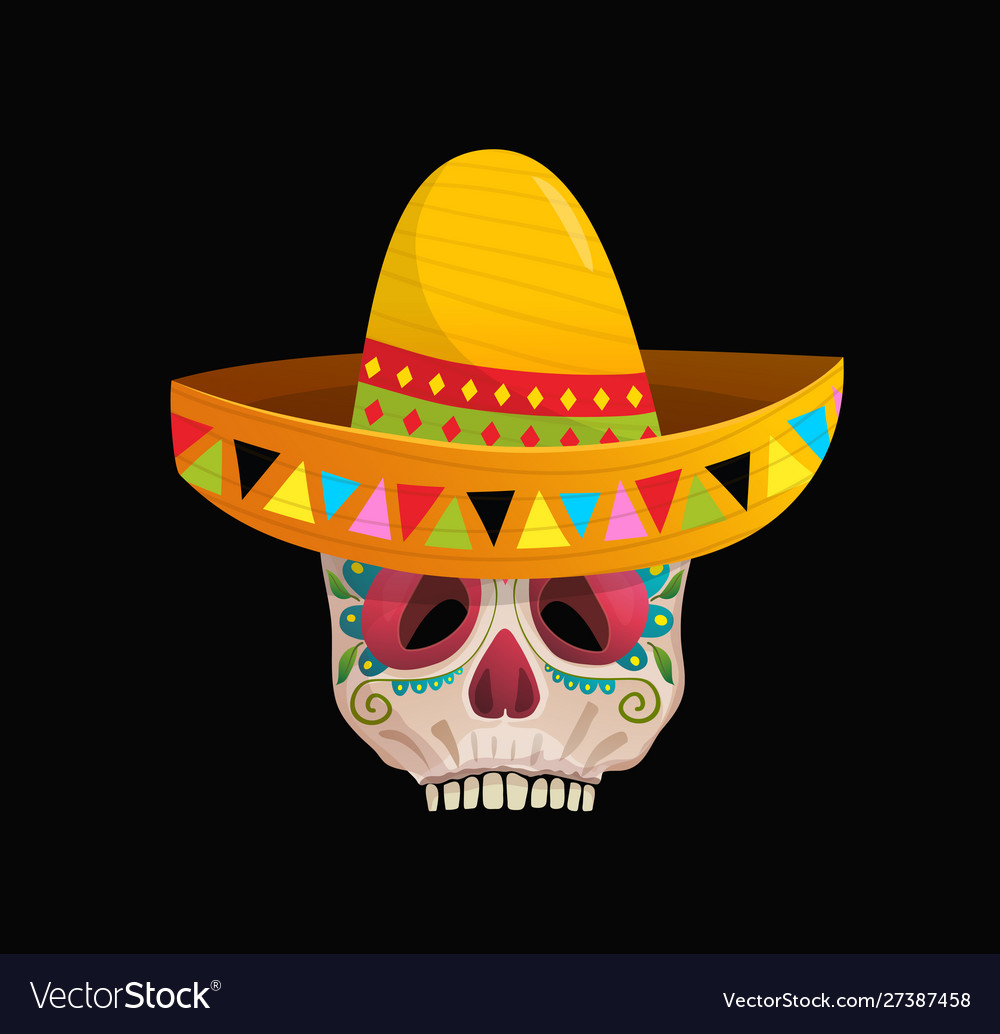 Decorated sugar skull wearing sombrero for day