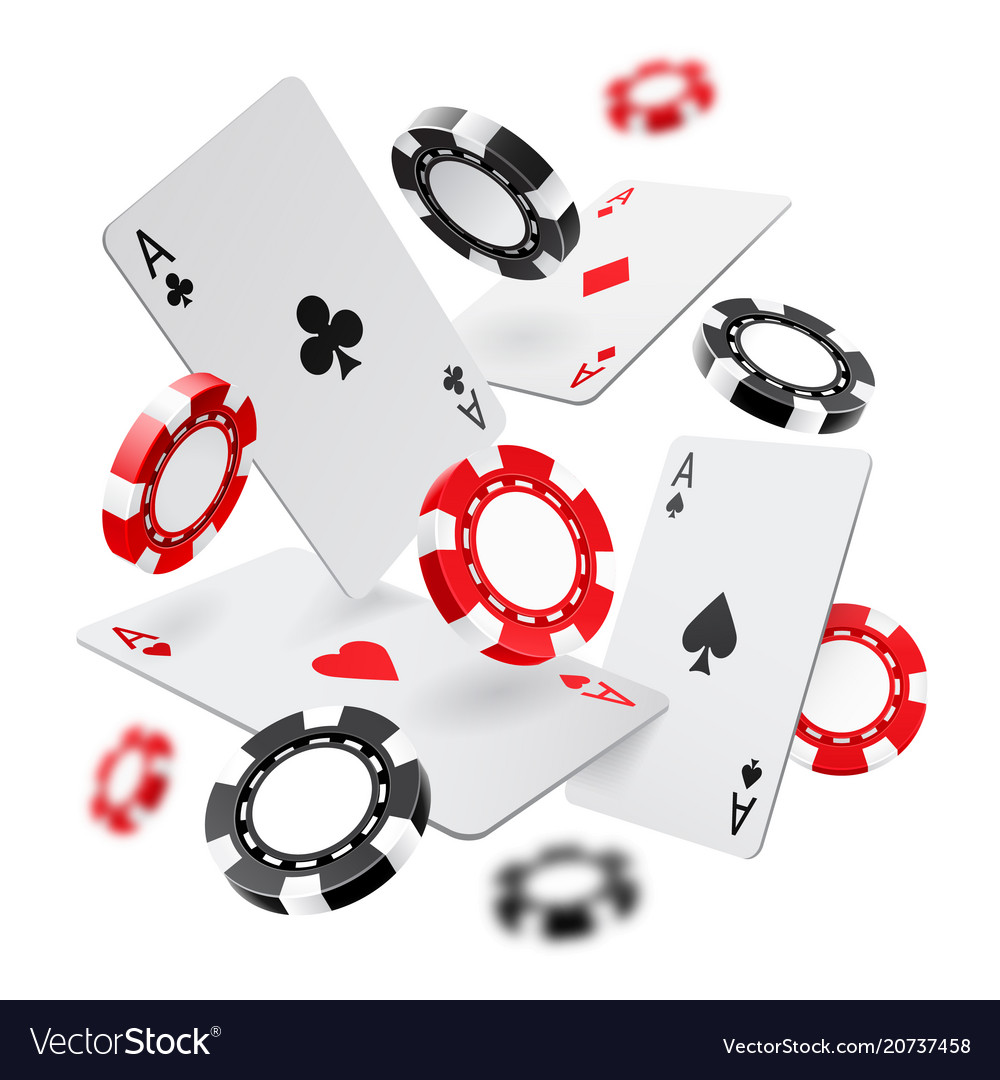 Falling aces and casino chips with blurred