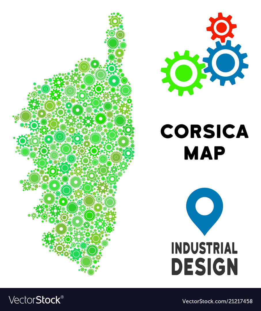 Gears corsica france island map collage Royalty Free Vector