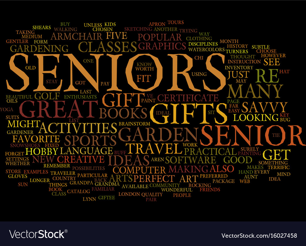gifts for seniors text background word cloud vector image