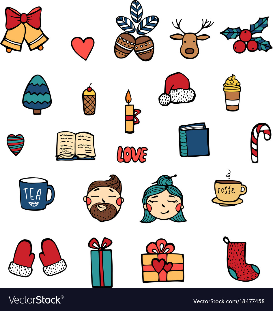 Hand drawn xmas stickers collection hipster style