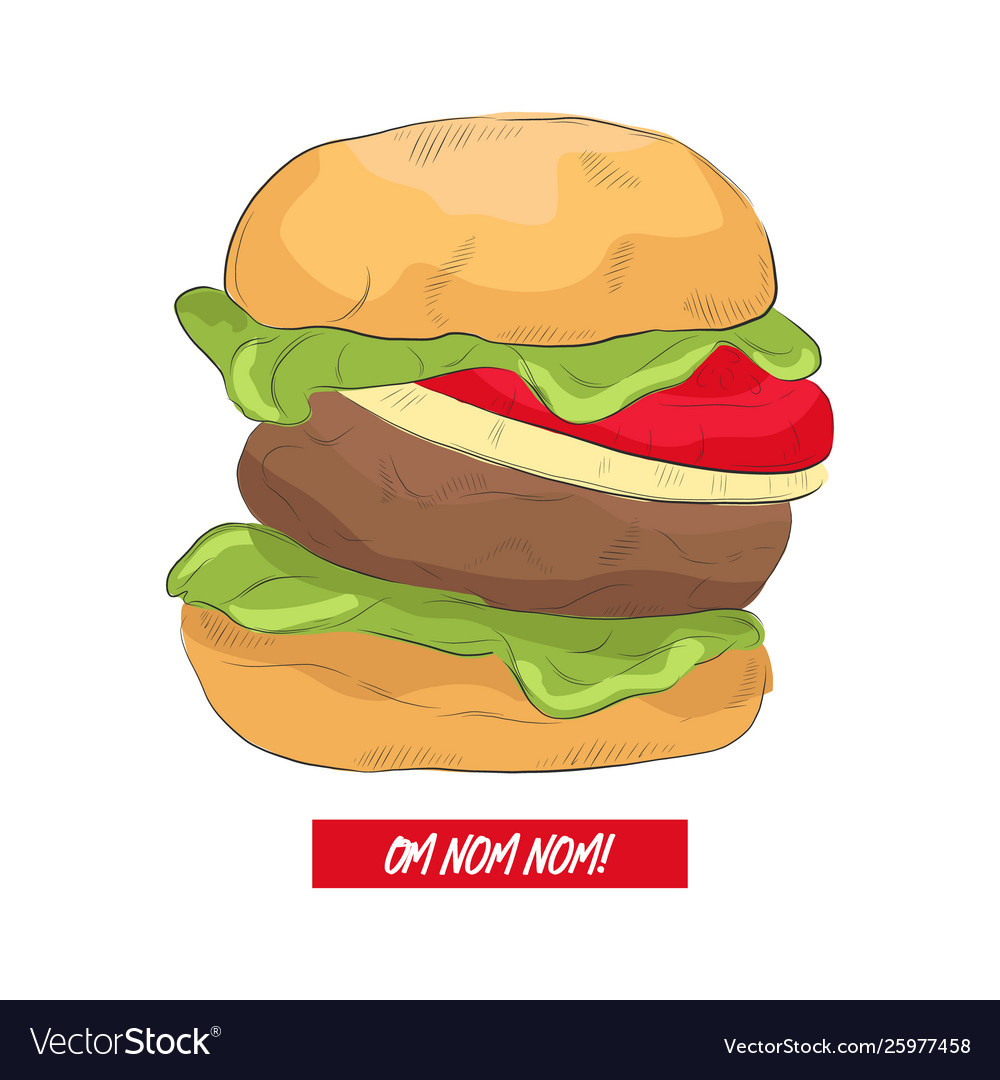Line art burger with funny text hand drawn