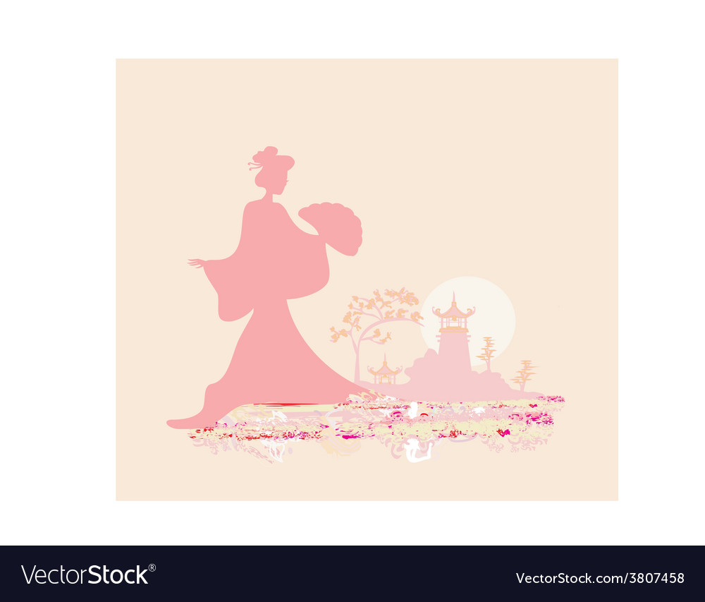 Old paper with geisha silhouette on abstract Asian