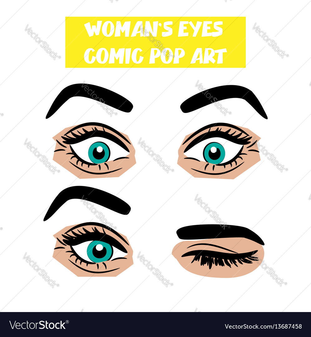 Pop art cartoon comic surprise wink woman eyes vector image