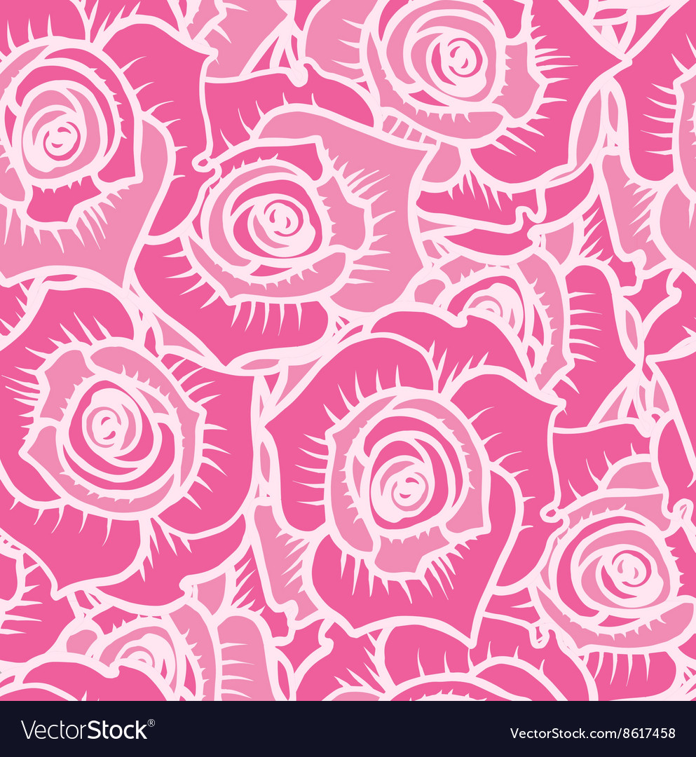 Seamless pattern of pink roses with white lines