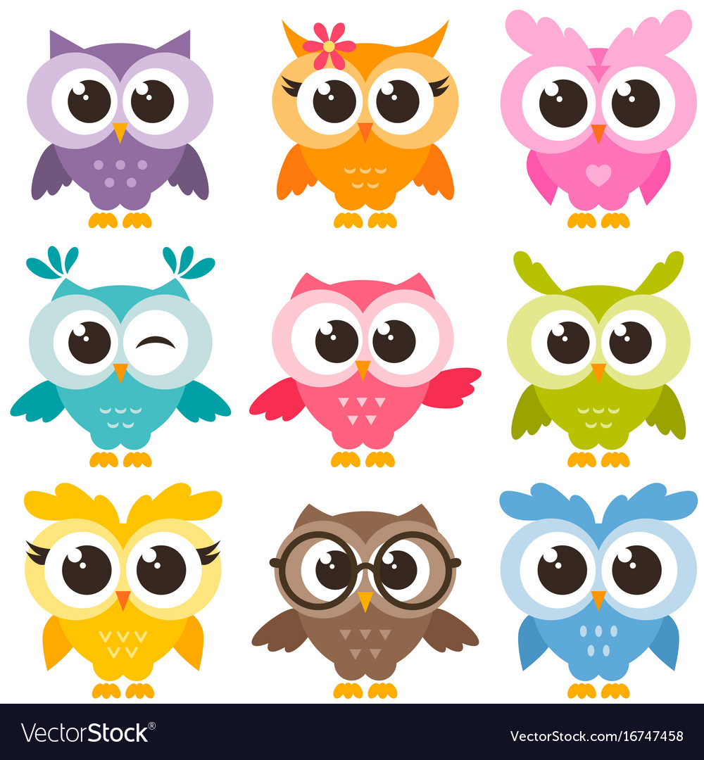 - Set Of Colorful Funny Owls Isolated On White Vector Image