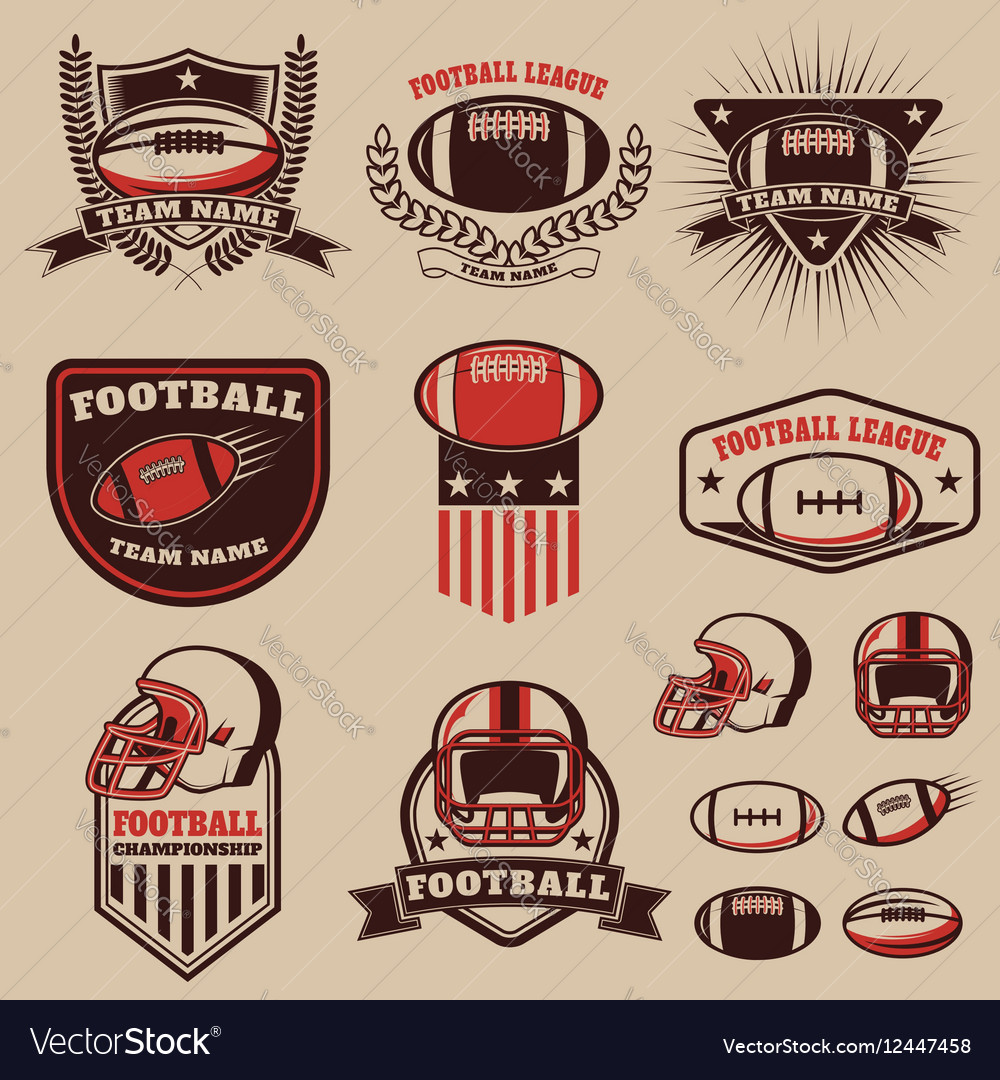 Set of the american football labels emblems and