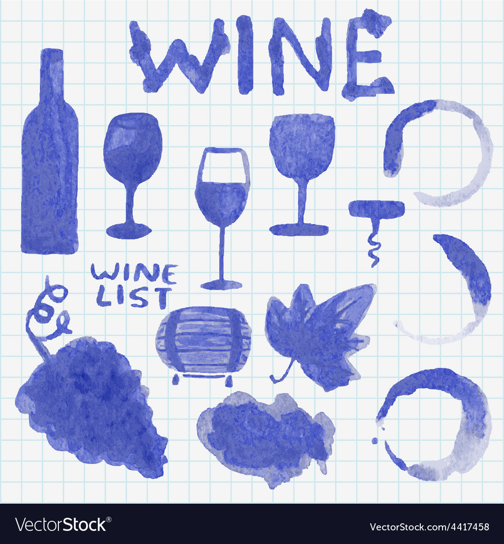 Set of watercolor wine stuff Decoration and