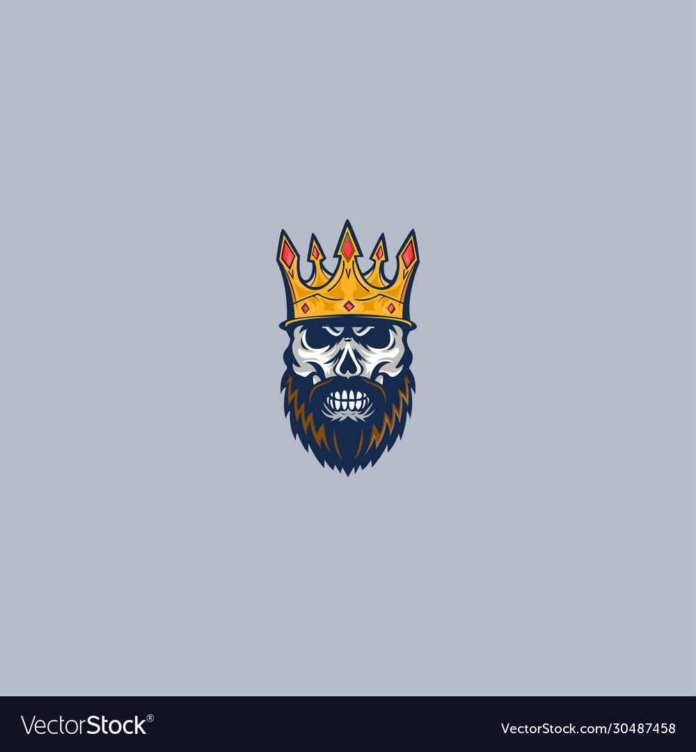 Skull king mascot logo concept