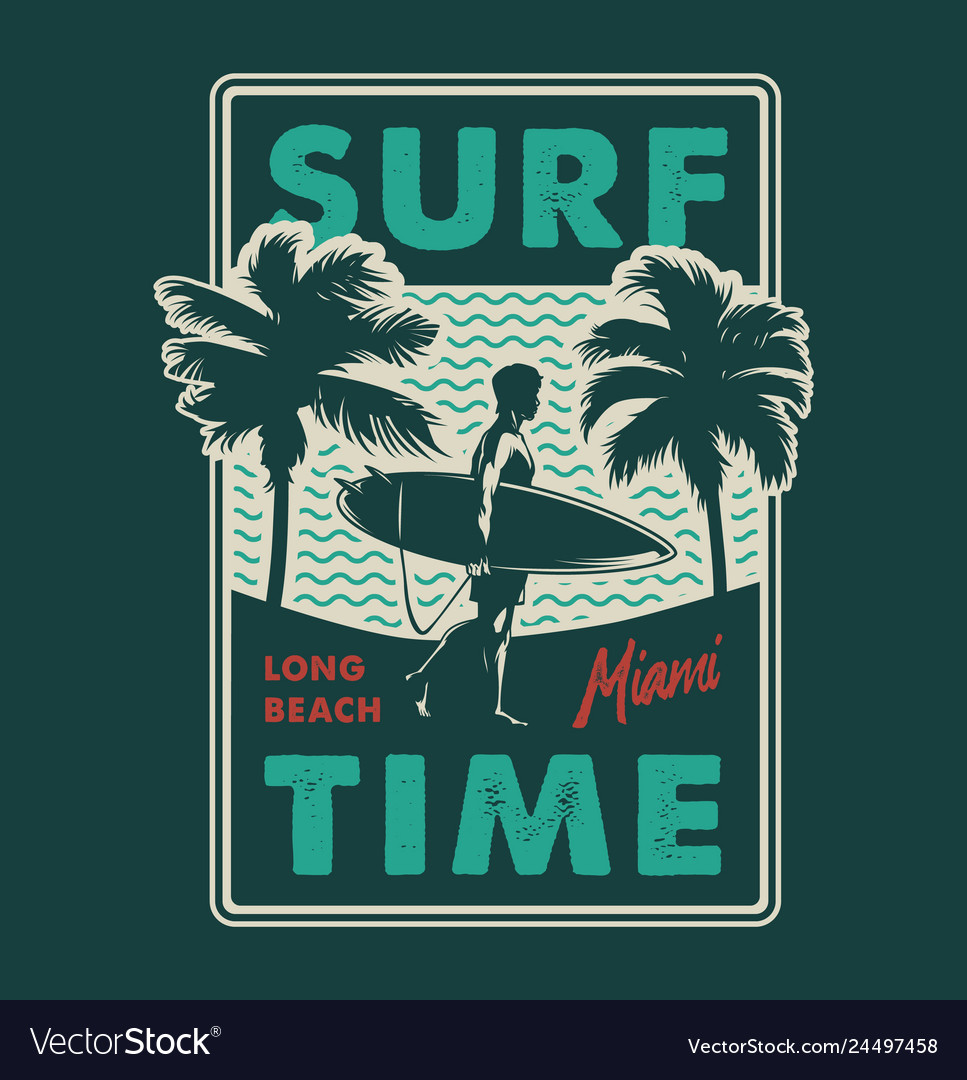 Vintage surfing time colorful print