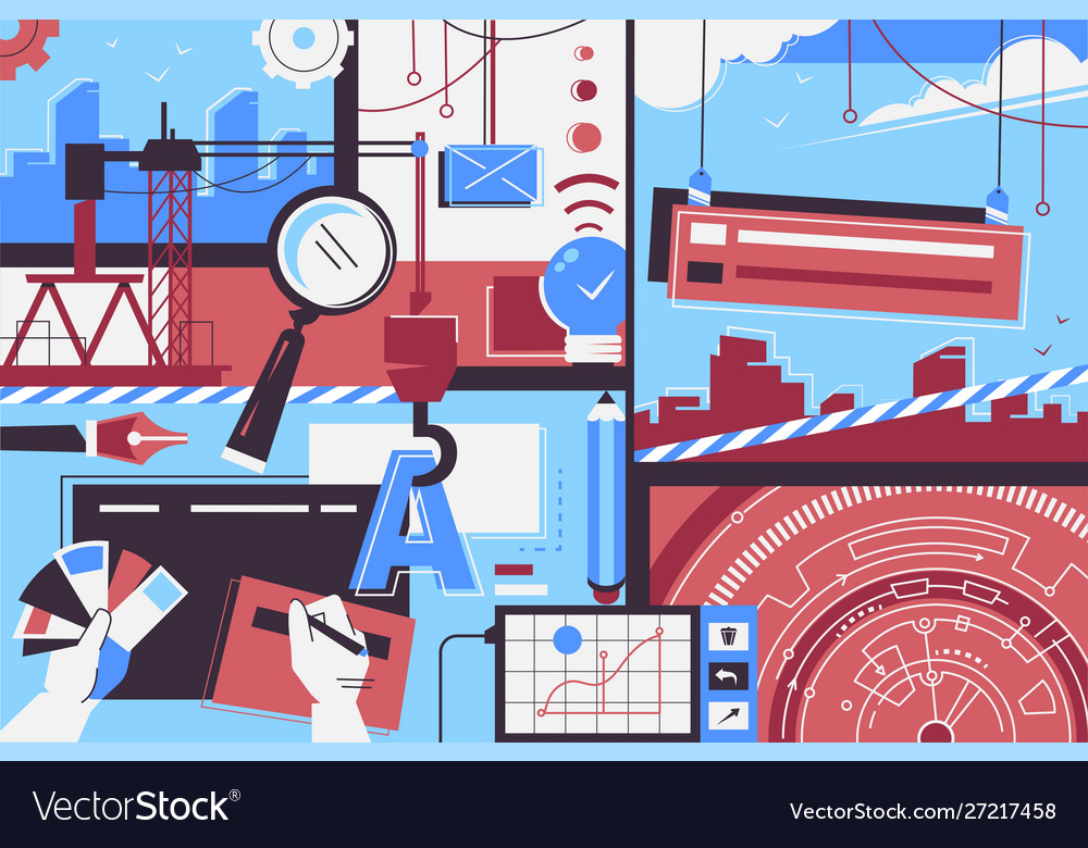 Website creation items background people