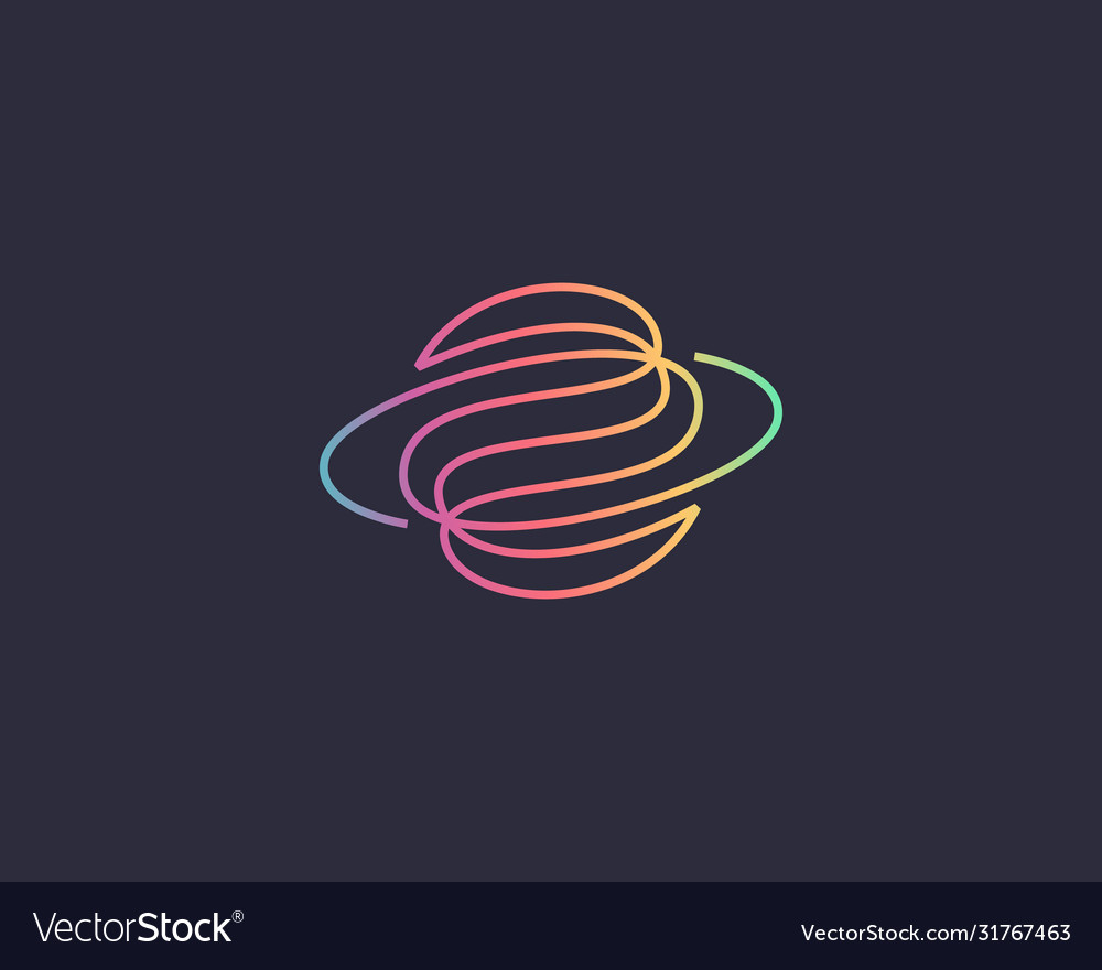 Abstract globe planet logo design curl