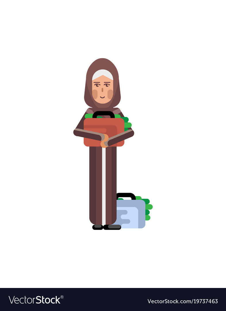 Arabic woman holds suitcase with money