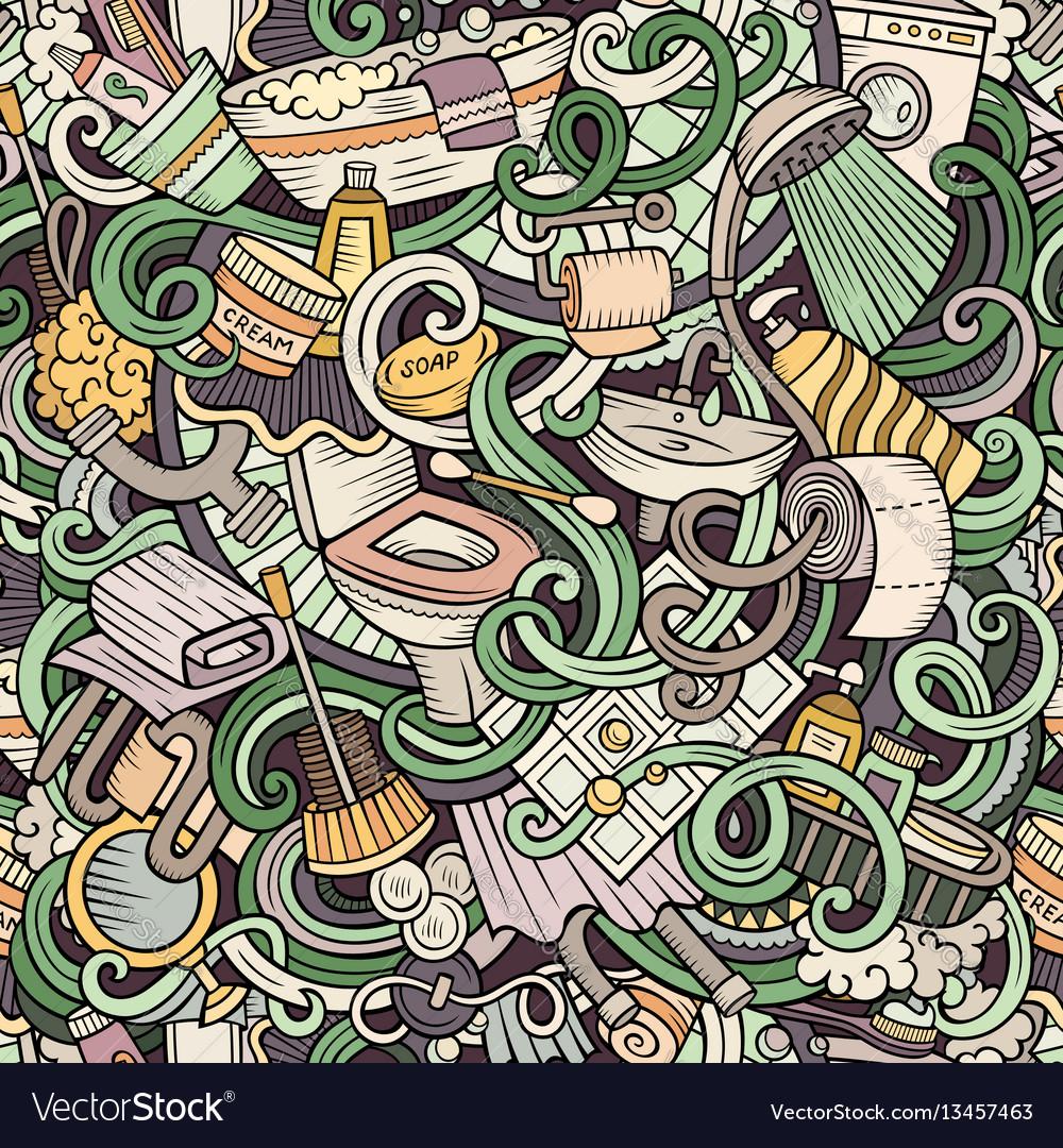 Cartoon cute doodles bathroom seamless pattern
