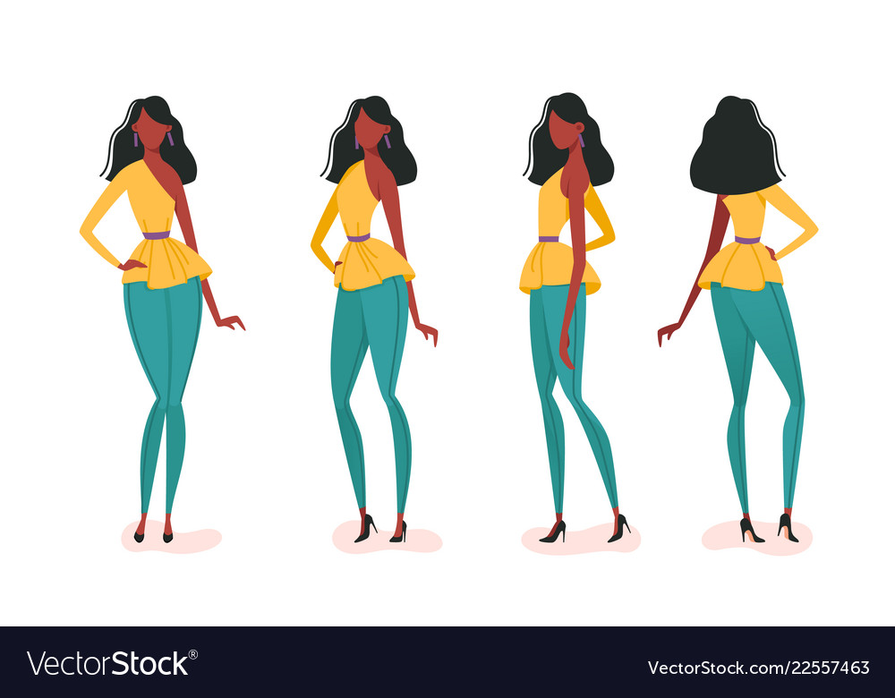 Collection of turning various girl poses