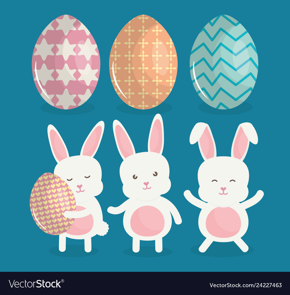Cute rabbits with easter eggs painted