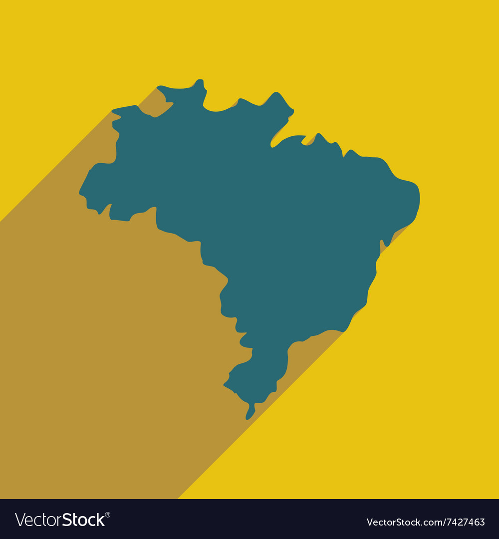 Flat icon with long shadow map of brazil vector image gumiabroncs Images