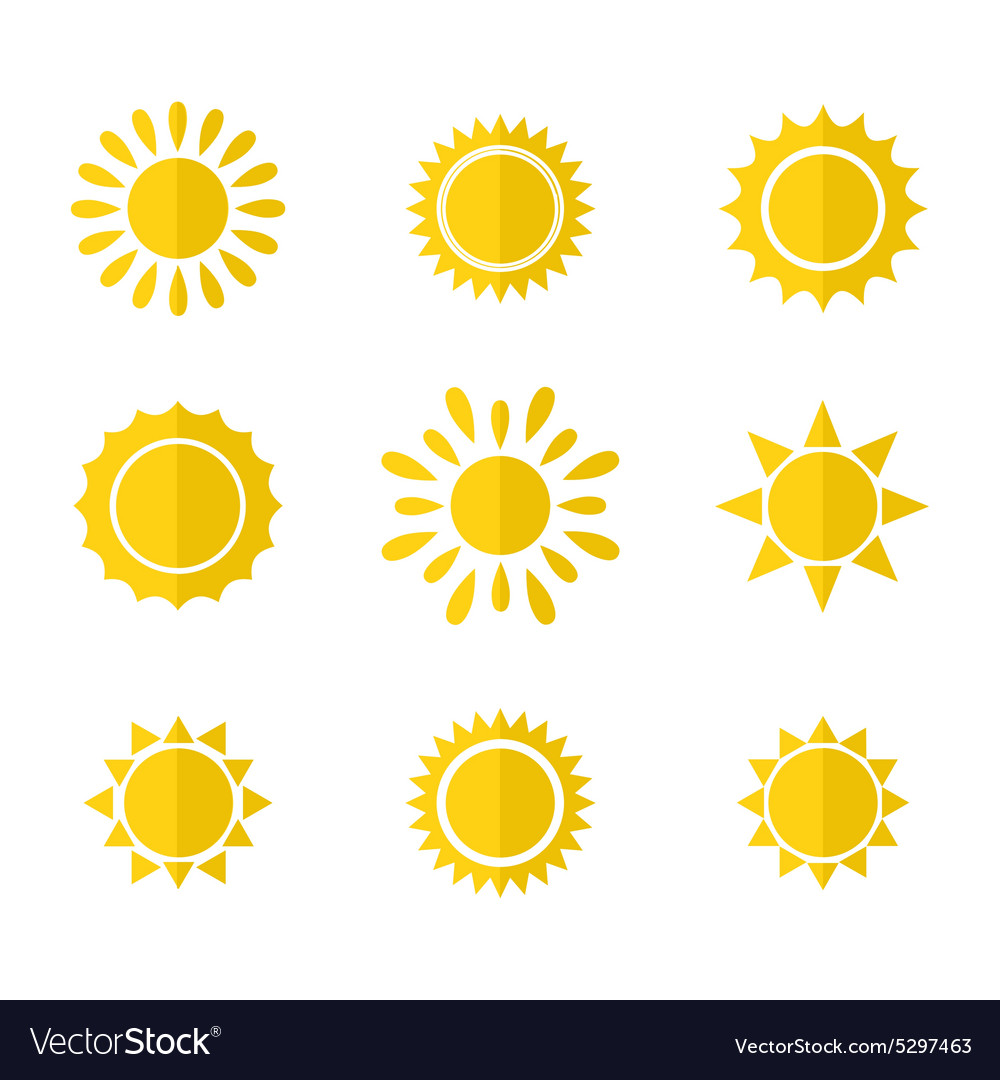 Set of sun icons vector image