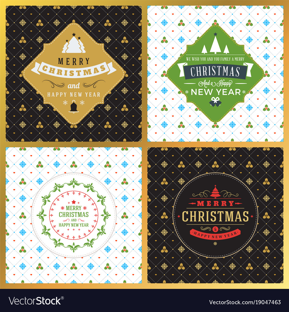 Set Of Vintage Christmas Greeting Cards Royalty Free Vector