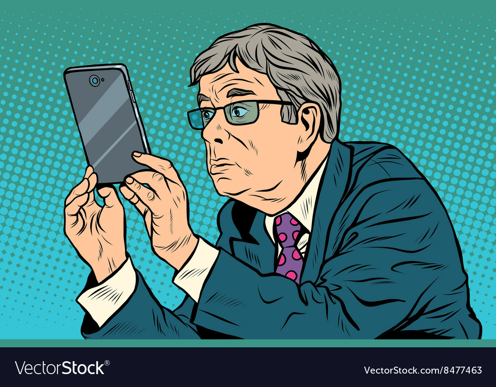 The funny man taking pictures with smartphone vector image
