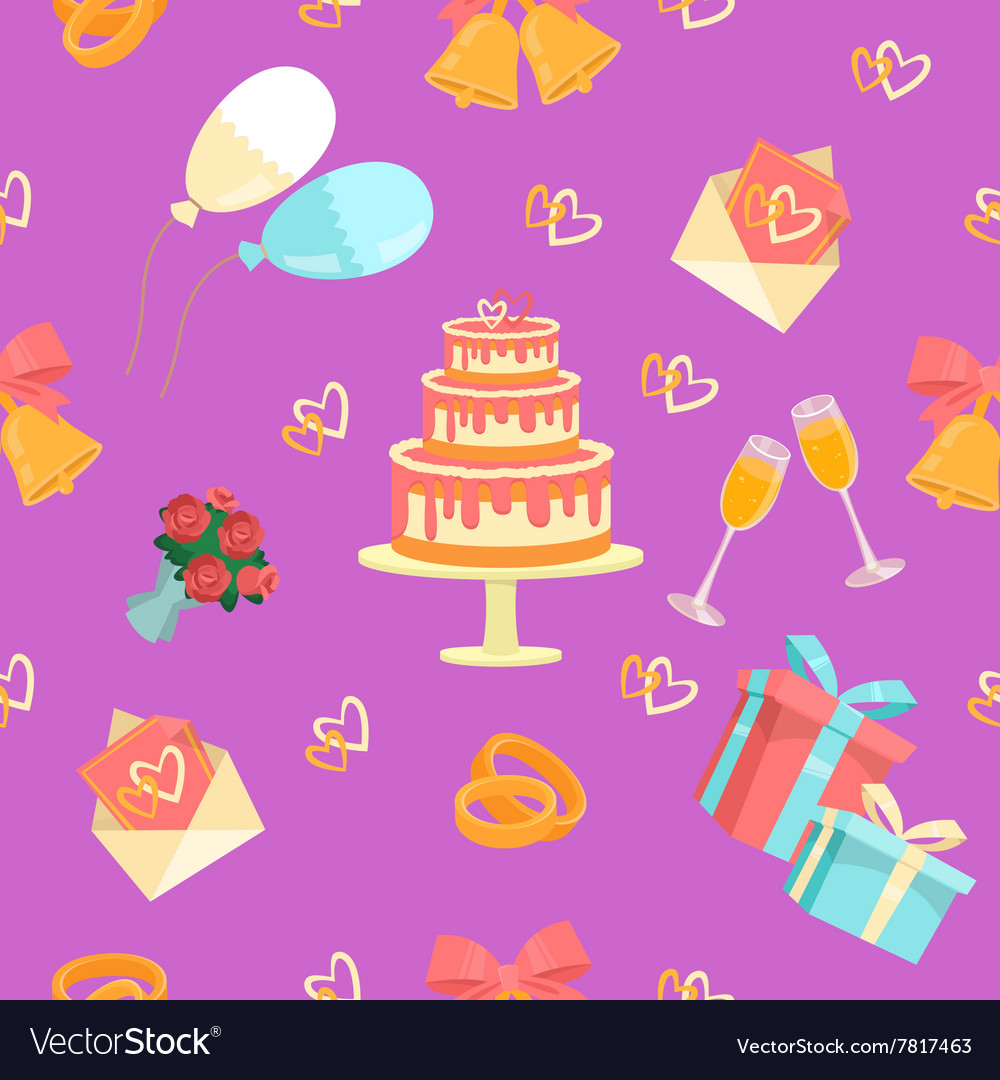 Wedding Seamless Pattern with Rings Cake and Bells