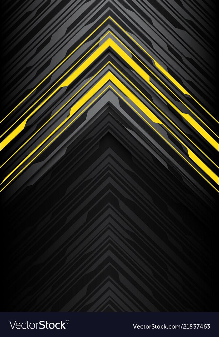 Yellow light black line arrow polygon on grey