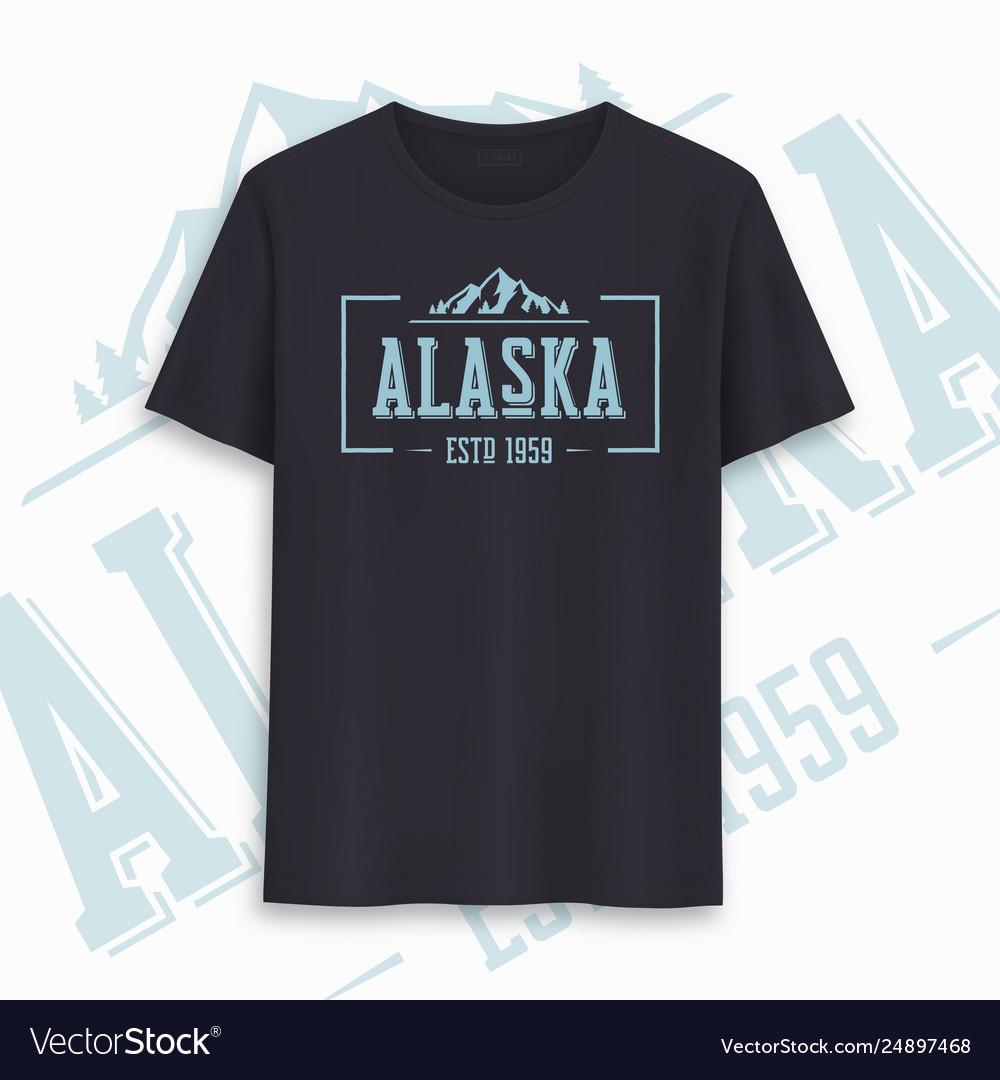 Alaska state graphic t-shirt design typography