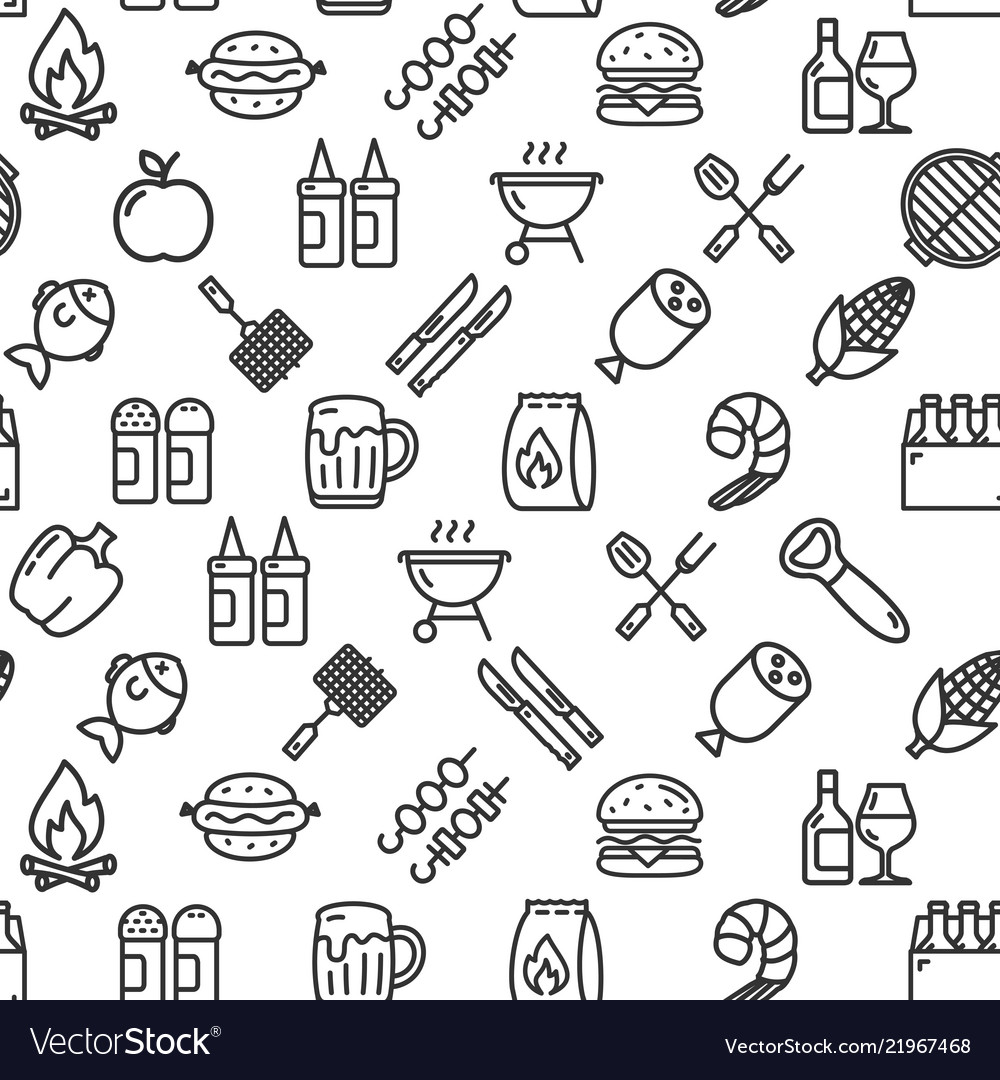 Bbq party signs seamless pattern background on a