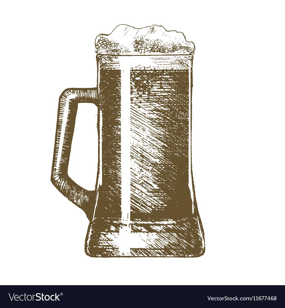 Beer Mug Hand Draw Sketch vector image