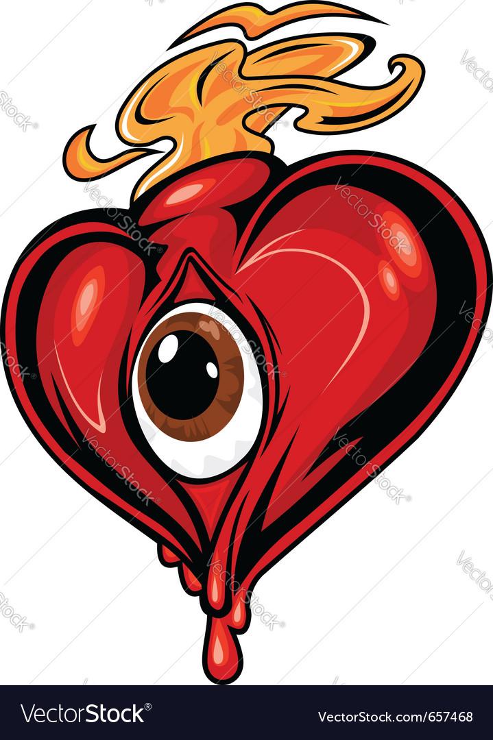 Cartoon red heart vector image