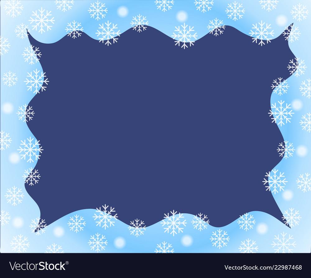 Christmas border blue white waved frame covered