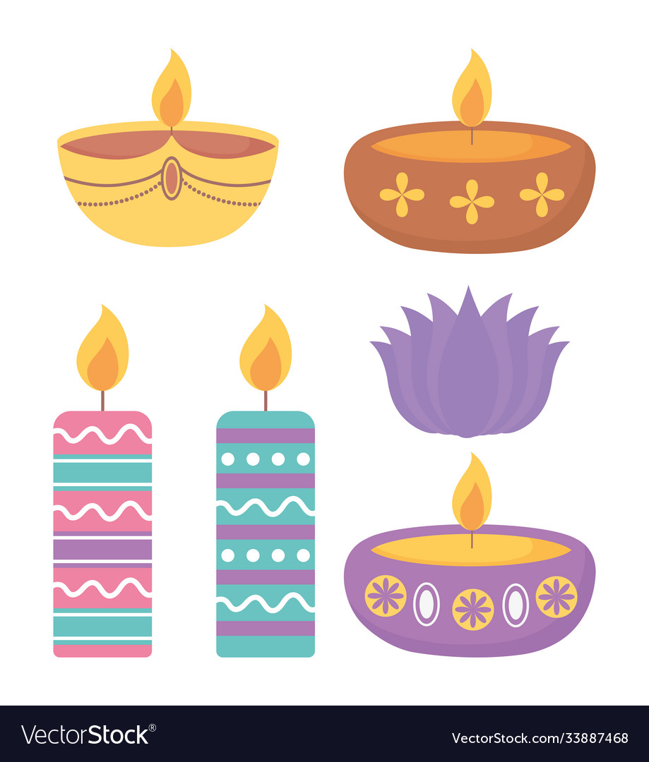 Happy diwali festival colored candles burning