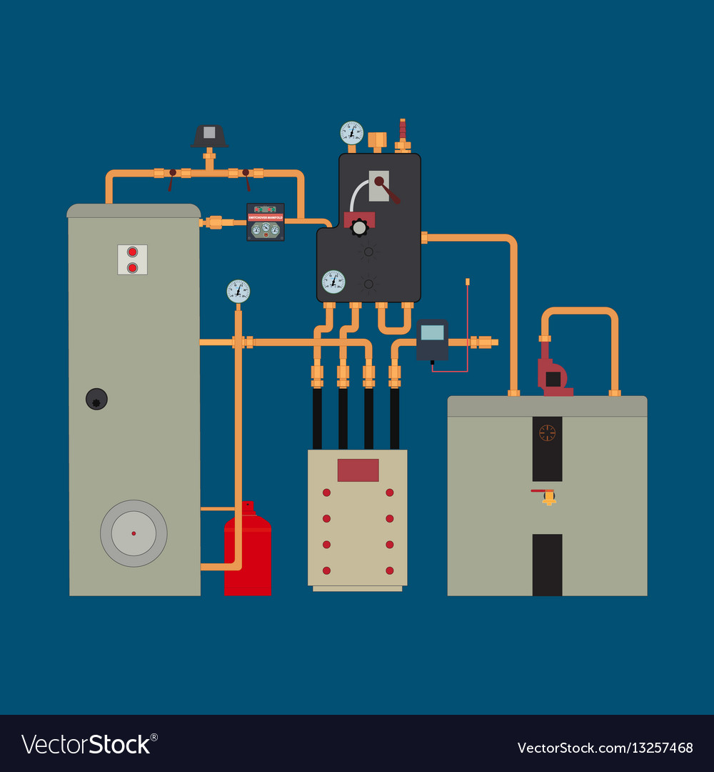Heat pump heating system Royalty Free Vector Image