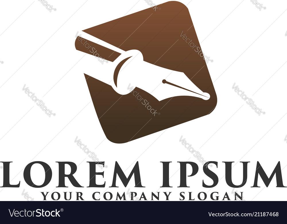 Luxury pen logo fountain pen logo design concept
