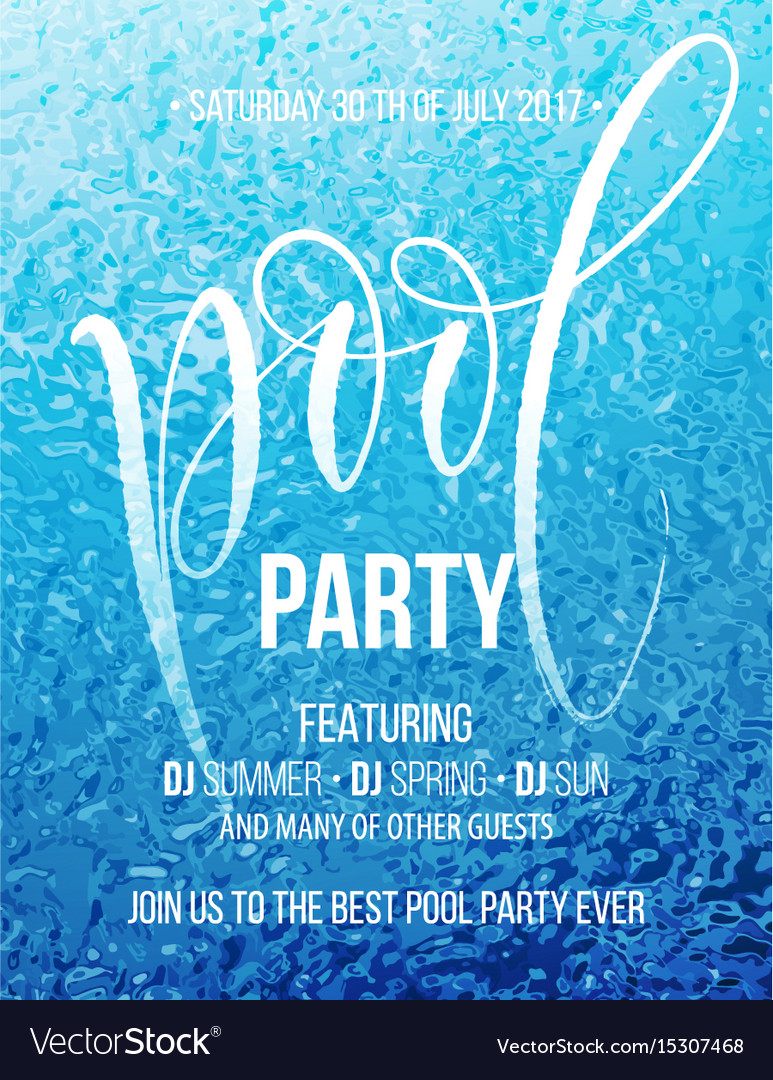 Pool party poster with blue water ripple and vector image