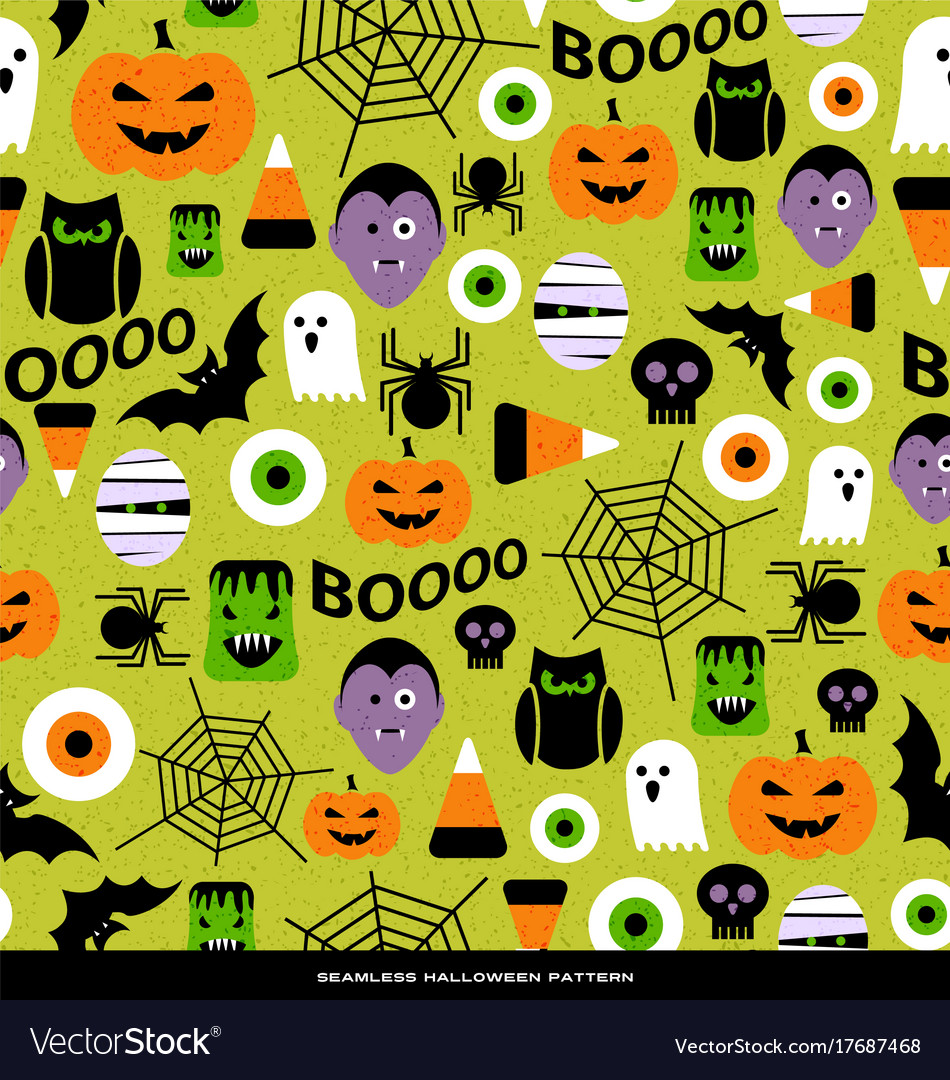 Seamless pattern of various halloween icons