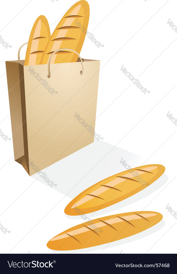 Shopping bag with bread vector image