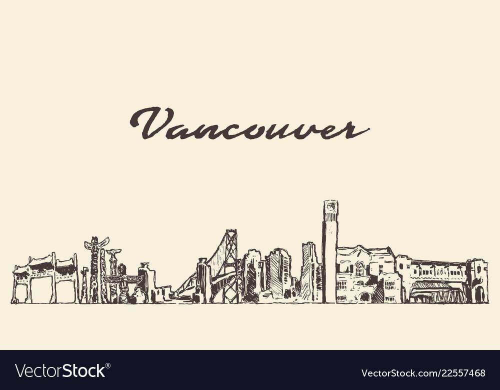 Vancouver skyline canada city drawn sketch